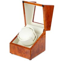 Wholesale Brown Automatic Wooden Watch Winder Display Box Deluxe Flipping Transparent Cover Jewelry Storage Case