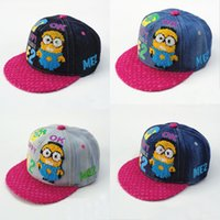 Wholesale 2016 New Me2 Kids Denim Sunhat Children Minions Kids Hat Caps Children s Boys Girls Cartoon Baseball Cap Casual Hiphop Hats Ball Cap