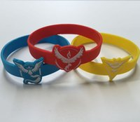 Wholesale Poke Go Fairy Treasure Bracelet Silicone Bracelet Three Colors for Boy and Girl Team Valor Team Instinct Team Mystic