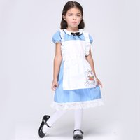 alice in wonderland apron - Halloween Costumes Alice in the Wonderland Dress for kids Cotton Maid Dress Cosplay Apron Dress costume Rabbit Cartoon Anime dress DHL free