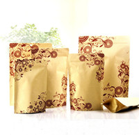 beautiful food - Beautiful Flower Printed Food Moisture proof Bags Kraft Paper with Aluminum Foil Lining Stand UP Pouch Ziplock Packaging Bag
