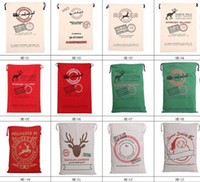 Wholesale Christmas Drawstring Bags Wholesale - Free Shipping 2017 Christmas Large Canvas Monogrammable Santa Claus Drawstring Bag With Reindeers, Monogramable Christmas Gifts santa sacks