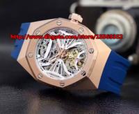 caoutchouc automatique importé watchband classique de luxe de la mode vintage dos creux transparent étanche Mens Watch boîtier en or rose