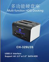 Wholesale 2 SATA Hard Disk Drive HDD Docking Station Clone USB HUB Card Reader High Quality