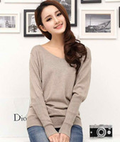Wholesale Autumn Winter Women Plus Size Cashmere Wool Sweater Pullover Fashion Knited V Neck Jumper