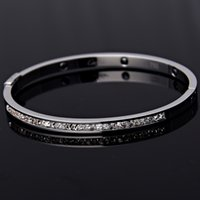 Wholesale Hot Sale Fashion Opening Titanium Steel Bangles One Row Crystal Bangles Women Bracelet For Party Gift