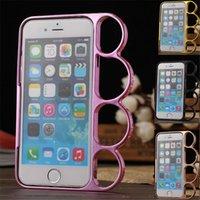 al por mayor marco de anillo de bronce-Para el caso de los iphone 6 encadena el casco de los cubos del teléfono del dedo del metal de los pares de los anillos del latón de los anillos de cobre amarillo duro del disco para el iPhone 6 6s 4.7 '' Funda