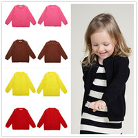 Wholesale Baby Kid Sweater Knitted Cardigan Long Sleeves Coats Outwear Candy Solid Color European Style INS Popular Spring Autumn Cotton New Buttons
