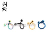 Wholesale Gauge Titanium Anodized L Surgical Steel Spiral Twister With Spike Mixed Colors Body Jewelry per
