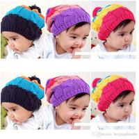bebe men - Rainbow Baby Hats Stripe Girls Beanie Kids Cap Bebe Bucket Hat Crochet Headwear Children Winter Hat Knitting
