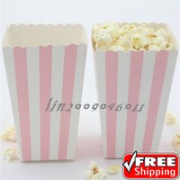 baby containers - 36pcs Light Pink Striped Popcorn Scoop Boxes Baby Shower Birthday Party Movie Theater Candy Buffet Snack Paper Treat Containers