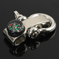 Wholesale U Shape Zinc Alloy Adjustable Anchor Shackle with Mini Compass for Outdoor Survival Rope Paracord Bracelet Buckle