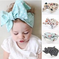 Wholesale 2016 New Girls Toddler Hair Bows Polka Dot Floral Printing Headbands For Girls European Newborn Baby Hairbands Infants Hair Accessories