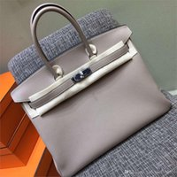 authentic tote bags - 100 Hand Stitching Authentic gray H TOGO Top GENUINE LEATHER BK cm classic platinum women bags luxury brand genuine h bags