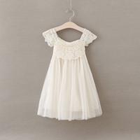 Wholesale 2016 Whosale Children Summer Dress Girl Sleeveless Lace Crochet Flower Dress Kids Fluffy Tutu Dress