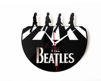 beatles disc - Vintage Retro Wall Clock in CD Disc Beatles Bedroom for Home Decoration Quiet Design Black
