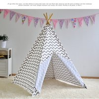Cheap Kids India Teepee Tent Children Play Tent Canvas Canopy Play Tent Indoor Outdoor Camping Childrens Family Play house