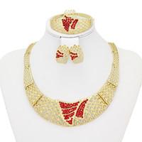 big nacklace - 2016 Drop shippingn jewelry sets k gold plated dubai women bridesmaid wedding big nacklace ruby earrings AL1132