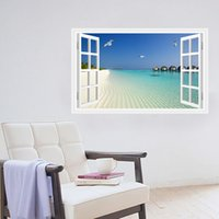 Wholesale The new D stereo false window beach sea wall bedroom living room decorative stickers PVC can be removed