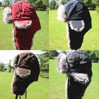 Wholesale Mens Winter Earflap Trapper Hat Aviator Hat Trooper Snow Cap Faux Fur Bomber Beanies Freeshipping