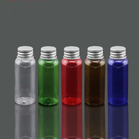 Wholesale Free shpping ML Transparent brown green blue red Plastic Silver Aluminum Cover Empty Cosmetic Shampoo Container Bottles