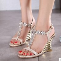 adhesive clips - Fashion Sexy Wedge Sandals Rhinestone Clip Toe High Heel Sandals Woman Evening Shoes Plus Size