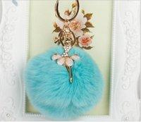 antique hair ornament - High Quality Hot Korean Cute Keychains Rhinestone Angel Creative Car Key Bag Ornaments Auto Accessories Plush Rabbit Hair Ball Pendant