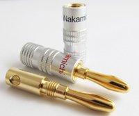 banana connector female - 4pcs Hot mm Nakamichi Banana Plug K Gold Plated speaker Copper adapter Video Connectors