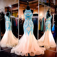 A-Line aqua patterns - Lvory Mint Mermaid Prom Dresses Sexy Sheer Jewel Neckline Illusion Back Aqua Lace Applique Embellishments Tulle Evening Pageant Gown