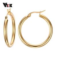 Wholesale Fashion Big Hoop Earrings Women L Stainless Steel Earring Jewelry Female K Gold Plated Party Earring Size