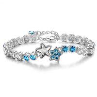 aquamarine tennis bracelet - 2016 Wedding Engagement Gift Round Cut Aquamarine White TopazStar Tennis Silver Bracelet Women K White Gold Plated