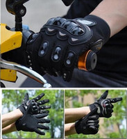 Wholesale Retail PRO knight Full Finger Protective Gear Black Carbon Fiber Pro Biker Bike Motorcycle Motorbike Racing Gloves Luvas M L XL