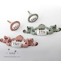 Wholesale French country creative zinc alloy ceramic furniture door handle cabinet drawer handle five bucket desk personality