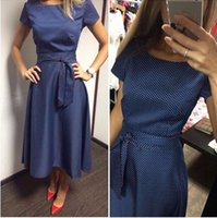 Wholesale Hot Sale Casual A Line Dot Women Popular Dress Short Sleeve O Neck Knee Length Dress Summer Style Sashes Clothes Plus size