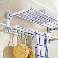best towel rack - Best Promotion Foldable Alumimum Towel Bar Rack Holder Hanger w Hooks Bathroom Hotel Shelf Tools
