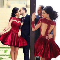 Wholesale Short party dresses A line with long sleeves lace appliques sheer neck nude tulle back senior prom gowns Best selling charming