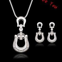 belt buckle earrings - New Designer Crystal Belt buckle Pendant Necklace Dangle Earrings Fashion Wedding Jewelry Sets for Bride Costume Dress Bijoux
