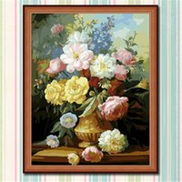 beautiful flower oil painting - Fashion X50cm Frameless DIY Digital Oil Canvas Painting Colorful Beautiful Flowers by Numbers Kits with Pigment Home Decor Wall Decor