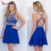 beaded tank dress - Royal Blue Cheap Homecoming prom Dresses Fashion Tank Halter Beaded Cross Back Chiffon A line Short Mini Modest For Girl Graduation Dresses