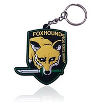 Wholesale metal gear solid D key ring in stock christmas gift for kids foxhound emblem keychain