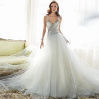 Wholesale 2016 spring and summer new lace shoulders deep V neck trailing long beautiful make photo wedding dress
