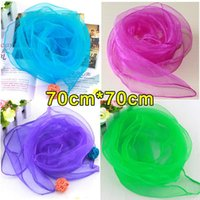 Wholesale Headband Scarves Chiffon Silk square scarf shawl scarves Dance performances silk scarves candy color kerchief scarf cm cm colors