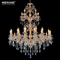 arm project - Luxury Large Crystal Chandelier Lamp Crystal Lustre Light Fixture tiers Arms Hotel Lamp E14 Lampholder Project Lighting