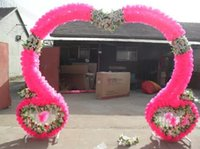 Wholesale The new silk wedding props arches opening ceremony of marriage were happy flower door double heart base