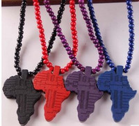 Wholesale Fashion New Wooden Map Pendant Necklace For Men Beads Chain Wood Beads HIPHOP Necklaces Jewelry XL99