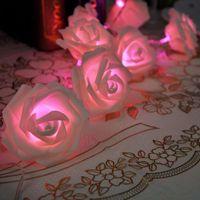 Wholesale 9 Color Night Light x LED Novelty Rose Flower Fairy String Lights Wedding Garden Party Christmas Decoration Nightlight