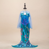 Wholesale Cosplay Dress for Kids Little Mermaid Girls Mermaid Dresses Princess Ariel Party Cosplay Halloween Costume Mermaid tail Baby Clothes