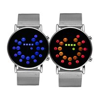 balls led watch - Men s Silver Mesh Stainless Steel LED Watches Mirror Face Colorful Blue Ball Display Time Wristwatches New Popular Digital Wrist Watches