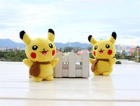 Wholesale 13cm Pikachu Plush Keychain Pendants Dolls Cartoon Pok e Stuffed Animals Toys Sucker Cute Pikachu Keyring Christmas Toys