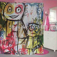 bathroom graffiti - Shower Curtain Cartoon Graffiti Printed Creative Shower Curtain Bathroom Waterproof Polyester Fabric Inch Hooks